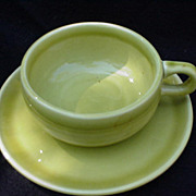 Russel Wright Vintage Cup and Saucer, Chartreuse