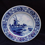 Delft, Holland, Blue Windmill Plate, Flower Border