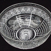 Fabulous Clear Cut Crystal Bowl w Floral Panels, Band of Stars and Diamonds