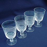 Vintage Clear Crystal Set of Wine or Sherry Glasses, Kosta, Diamond Band