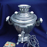 SALE Vintage Russian Samovar  in Metal with Instruction Book