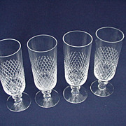 Kosta Clear Crystal, Diamond Banded Irish Coffee Glasses
