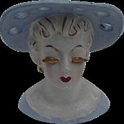 SALE Irice, Japan Head Vase, Blue Hat, Blue Dress, Gold Accents