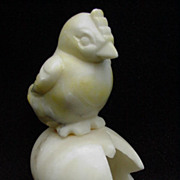 SALE Alabaster Egg with Chick Perched on Top