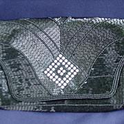SALE Elegant Walborg Black Beaded Evening Bag, Made in Japan