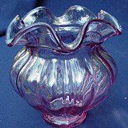 Fenton Glass Cranberry Rose Bowl with Ruffled Rim