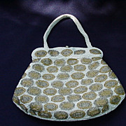 SALE Vintage Beaded Handbag with Gold and Silver Beaded Ovals On White Background