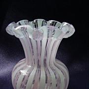 Latticino Glass Vase for Short-Stemmed Flowers
