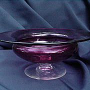Cranberry Console Bowl with Clear Pedestal Base