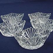 Five Cut Glass Salts, Elliptical Shape