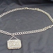 SALE Vintage Gold Tone Chain Link Belt w Attached Metal Coin Purse