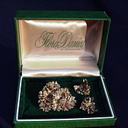 SALE Vintage Flora Danica of Copenhagen Boxed Sterling Pin and Earrings, Leaf Design