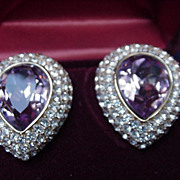 Boxed Pair of Ciner Clip Earrings, Faceted Amethyst Colored Marquis Surrounded by Pave Rhinest