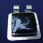 Sterling .925 Pendant, Square Black Stone Set in Square Frame