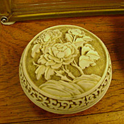 Chinese Lacquerware Carved Trinket Box, Three Roses