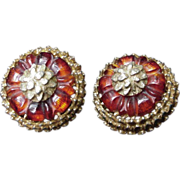 SALE Stunning Pair of DeNicola Clip Earrings, Gold Tone, Amberina