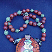 Lee Sands Turtle Necklace with Abalone Shell, Jade and Wood