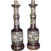 Fabulous Vintage Pair of Frederick Cooper Champleve Lamps