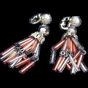 Vintage Chandelier Clip Earrings, Bugle Beads, Japan