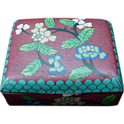 Cloisonne Box with Floral Decorated Lid, Sides, Marked China