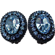 Stunning Vintage Blue Stone Clips, Made in Austria