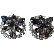 Vintage Rhinestone Clips with Marquise and Round, Prong-Mounted Stones