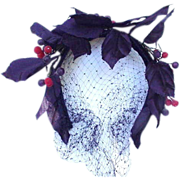 Margaret Smith Cocktail Hat with Purple Leaves, Berries, and Veil