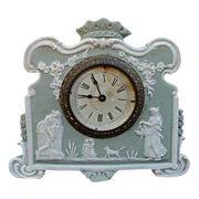 SALE Elegant Ansonia Jasperware Clock with Classic Mythological Figures, Dog, Garlands, Crown