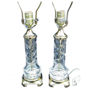 Pair of Vintage Cut Crystal Lamps