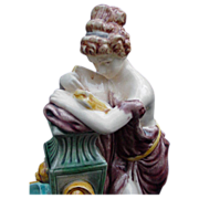 Fabulous Majolica Compote, Draped Figurine on Pedestal