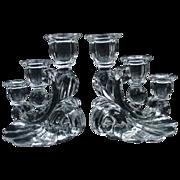SALE PENDING Pair of Elegant Glass Three-Light Candelabra