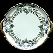Limoges, France Porcelain Cake Plate, Deco Era Design, Signed