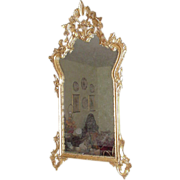 SALE Ornate Gold Leaf Mirror with Basket Design