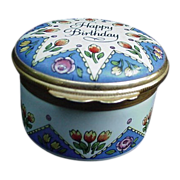 "SALE Vintage Halcyon Days Enamel Box, ""Happy Birthday"", England"