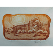 SALE Roy Purcell Etching, Log Cabin II