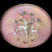 SALE Vintage Enamel on Copper Tray, Sagita, Holland, White Deer