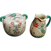 SALE Japanese Satsuma Cream and Sugar with Floral Decoration, Green Handles