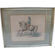 SALE Handsome Hand-Colored Print of French Cavalryman by Carle Vernet