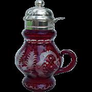 Ruby Bohemian Glass Syrup Pitcher