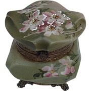 SALE Nakara Box by C.F. Monroe, Green with Pink Flowers