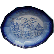Oval Flow Blue Platter with Exotic Indochina Transfer Scene