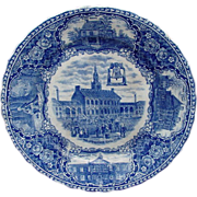 SALE Historical Staffordshire Blue Ware Plate, Independence Hall