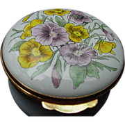 Crummles Enamel Box with Pansies on Lid, England
