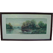 SALE Signed Landscape Painting of Small Lakeside House