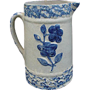 Big and Beautiful Blue Sponge Ware Pitcher