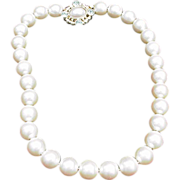 SALE Vintage Givenchy Faux Pearl Necklace with Ornate Clasp