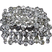 Vintage Rhinestone Brooch with Round, Marquis, and Emerald Cut Stones