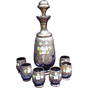 Cordial  Set with Decanter, Gold & Floral Decoration