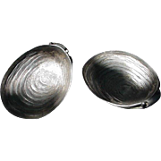 SALE Pair of Pewter Oyster-shaped Accents
