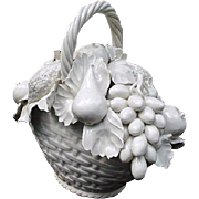 SALE White Porcelain Basket of Flowers, Vietri, Made in Italy